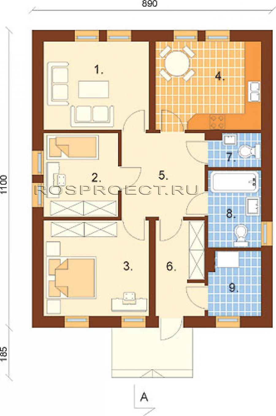 Дом 8 на 10 планировка одноэтажного дома фото 4